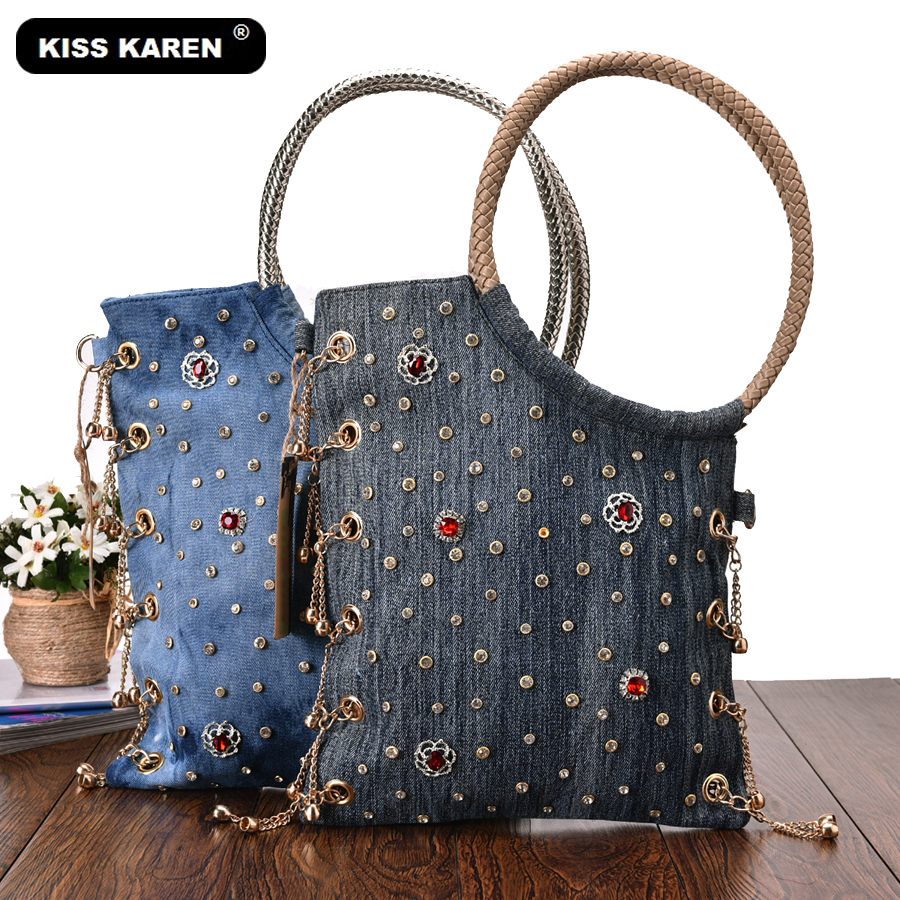 KISS KAREN Luxury Women Bag Rhinestone Studs Fashion Totes Jeans Women's Shoulder Bags Denim Ladies Handbags Designer Tote Bag