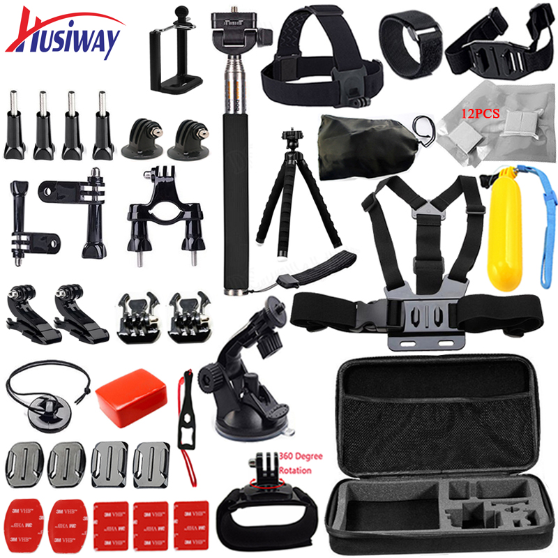 Husiway for all Gopro Accessories set for go pro hero 5 4 3 kit mount for SJCAM SJ4000 / xiaomi yi camera / eken h9 tripod 14L gopro accessories head belt strap mount adjustable elastic for gopro hero 4 3 2 1 sjcam xiaomi yi camera vp202 free shipping
