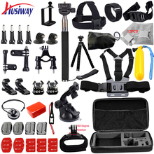 Husiway for all Gopro Accessories set for go pro hero 5 4 3 kit mount for SJCAM SJ4000 / xiaomi yi camera / eken h9 tripod 14L