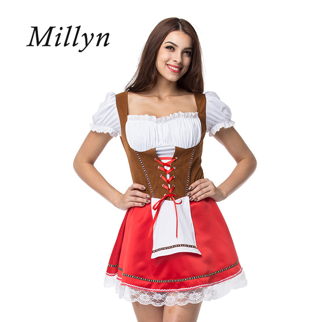 ae5ab1c7a6 Millyn Halloween Germany Oktoberfest beer girls clothes bars stage costumes  Plus Size Maid Fancy Dress Cosplay Costume M-4XL