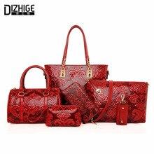 DIZHIGE Brand 6 Pcs Set Composite Bags Women Leather Handbags Famous Ladies Shoulder Bags Clutch Chinese