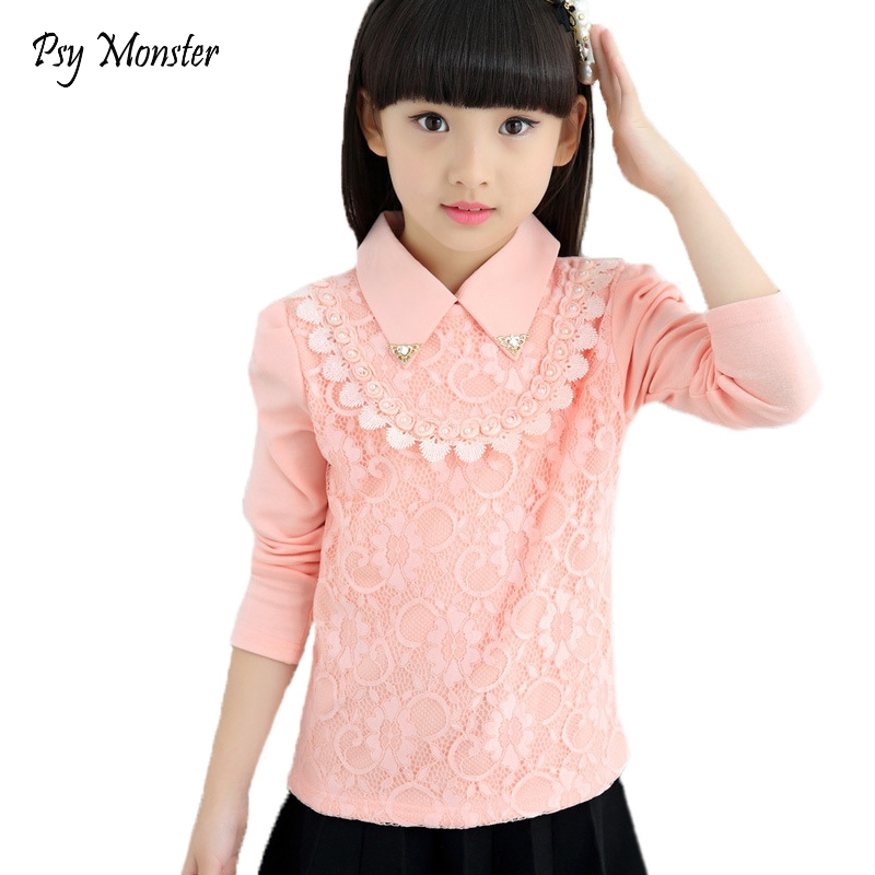 High Quality Shirts for Princess Girl Lace Blouse 2018 Girl Cotton School Sweatshirts Blouse Shirts Blusas Children Clothing A96 two tone lace insert blouse