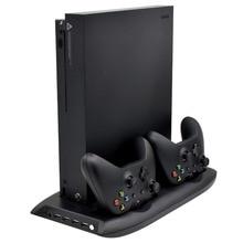 4 w 1 pionowy stojak dla konsoli Xbox One X wentylator chłodzący z ładowarka do pada stacja dokująca stacja ładowania i 4 porty USB Hub
