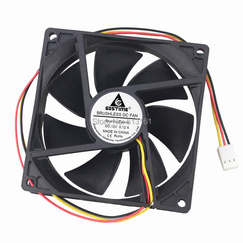 1pcs/Lot Gdstime 12V 3Pin 92mm 92x92x25mm PC Computer Ventilation DC Cooling Fan Cooler maitech dc 12 v 0 1a cooling fan red silver