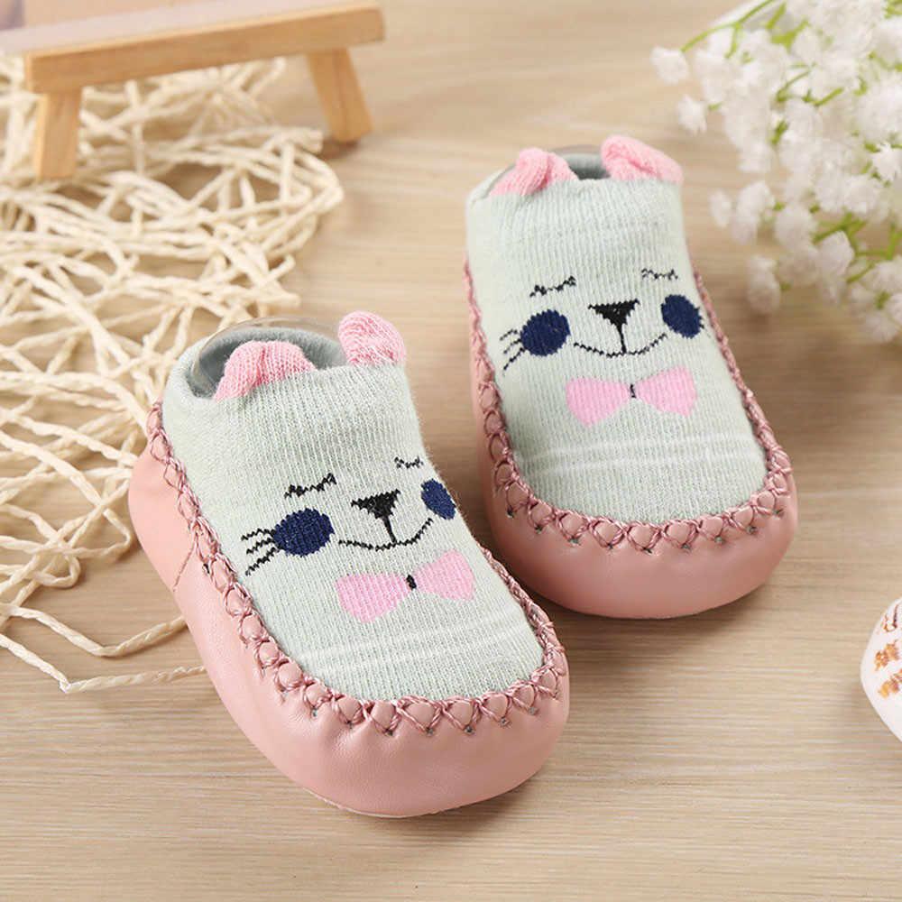 Recién Nacido bebé niños de dibujos animados de niñas orejas calcetines Anti-Slip paso de bebé Zapatos y calcetines Zapatos de bebe