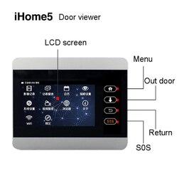 ROLLUP iHome5 WiFi Visor de puerta y Video IP Monitor de puerta LCD TFT 4 pulgadas Pantalla de puerta plateada con batería de 8000mah pantalla de envío solamente