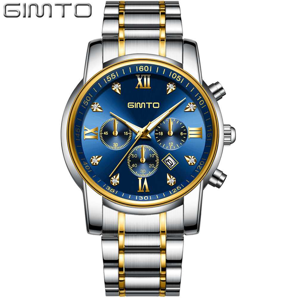GIMTO 2018 Classic Business Steel Quartz Watch Men Luxury Silver Blue Wristwatch Military Casual Male Waterproof Clock Watches mike 8831 men s business casual quartz watch silver blue