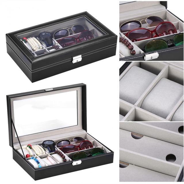 9 Slots Case Watch Eyeglasses Sunglasses Glasses Storage Display Box