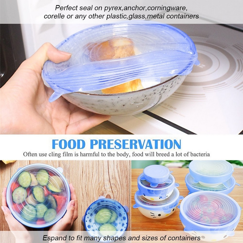 6Pcs/Pack Universal  Silicone Food Bowl Pot Lid Silicone Stretch Lids For Fridge Microwave Oven Food Saver Kitchen accessories