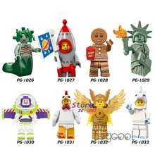 1PCS model building block superhero Medusa Rocket Boy Chicken man Golen Lightan Unicorn Statue of Liberty toys for children gift(China)