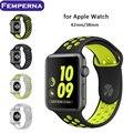 En la acción del deporte de 38mm 42mm deportes de silicona banda correa para apple watch nike 38/42 usable correas de reloj pulsera de la correa