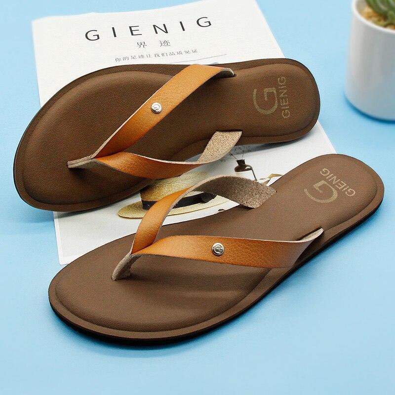 GieniG 2018 cuero mujeres verano chanclas zapatillas de tacón bajo - Zapatos de hombre - foto 2