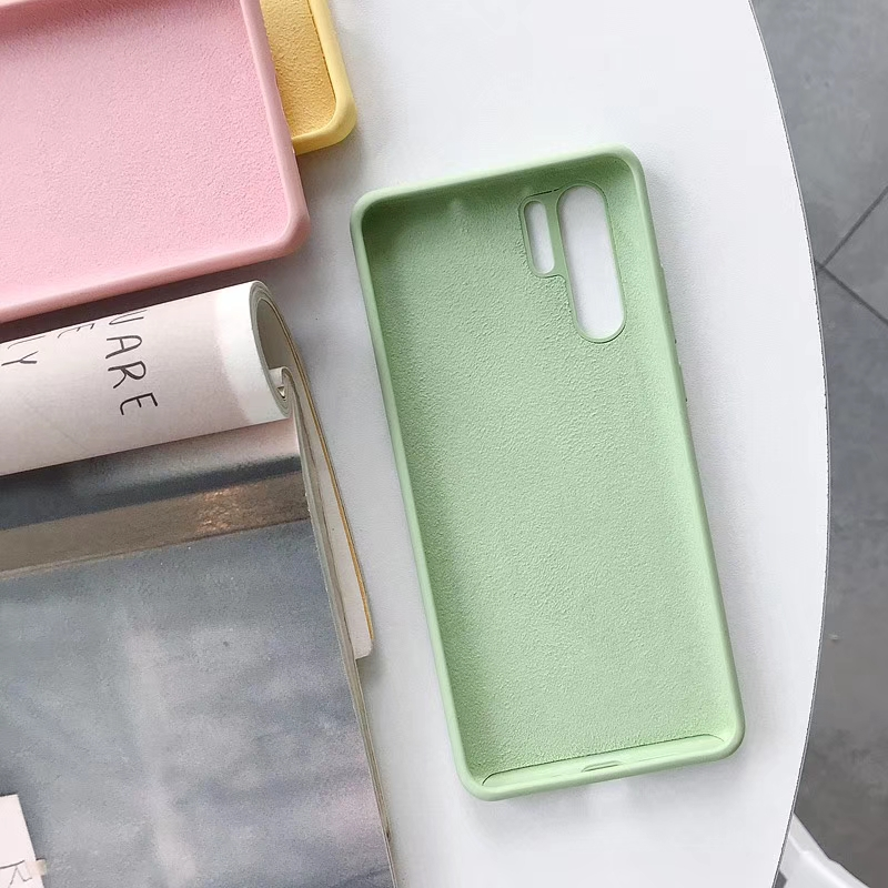 Cute Liquid Silicone Case For Huawei P30 P30 Pro Soft Cover Matte Shell Shockproof Korean Plain Green White Yellow Blue Pink in Fitted Cases from Cellphones Telecommunications