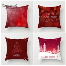 Fuwatacchi Happy New Year Christmas Style Cushion Cover Deer Tree Snow Printed Pillow Red Decorative Pillows For Sofa Car