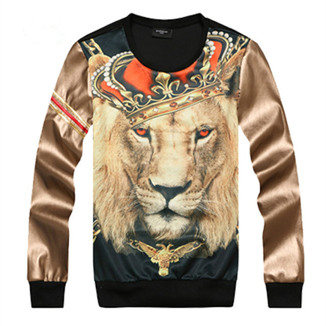 2014 Autumn Winter 3d Lion Crown Print Unisex Graphic Crew Neck