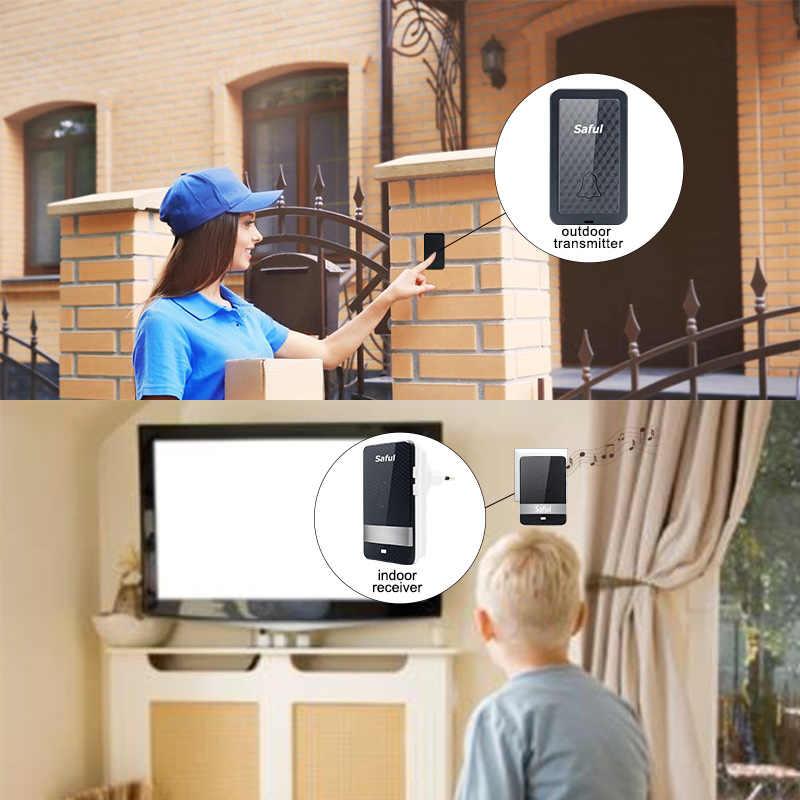 """Własnym zasilaniem wodoodporny bezprzewodowy dzwonek do drzwi, noc, lekki brak akumulatora ue/AU/UK/US podłącz główna inteligentny dzwonek do drzwi 1or2, proszę kliknąć na przycisk """" 1or2 odbiornik"""