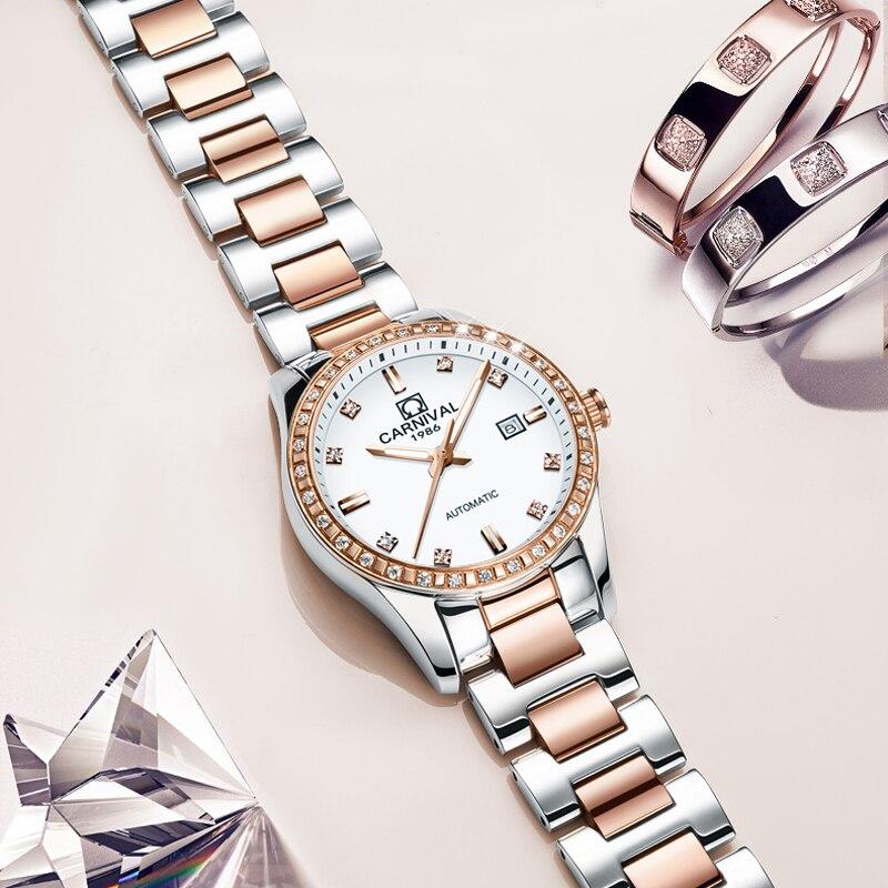 카니발 숙녀 다이아몬드 디스플레이 여성 톱 브랜드 럭셔리 화이트 간단한 스테인레스 스틸 케이스 사파이어 자동 기계식 시계-에서여성용 시계부터 시계 의  그룹 3