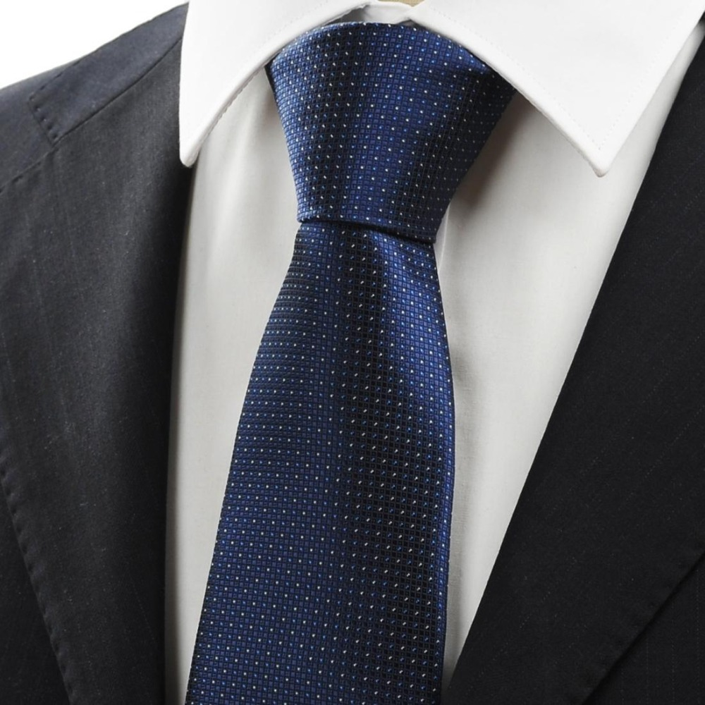 Fashion New White Dot Navy Dark Blue Classic Mens Silk Tie ...