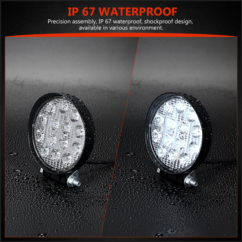 Image 4 - 4 Inch 42 48W Offroad LED Work Light Spotlight Flood Spot Beam Drive Lamp for JEEP UAZ 4x4 Car 4WD Boat SUV ATV Truck Motorcycle-in Light Bar/Work Light from Automobiles & Motorcycles