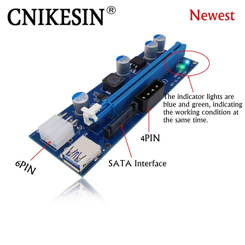 CNKESIN Nouveau VER006C PCIE Express Riser Card 1x à 16x USB 3.0 Câble de données SATA à 6Pin + 4Pin IDE Molex Alimentation Avec LED Lumière