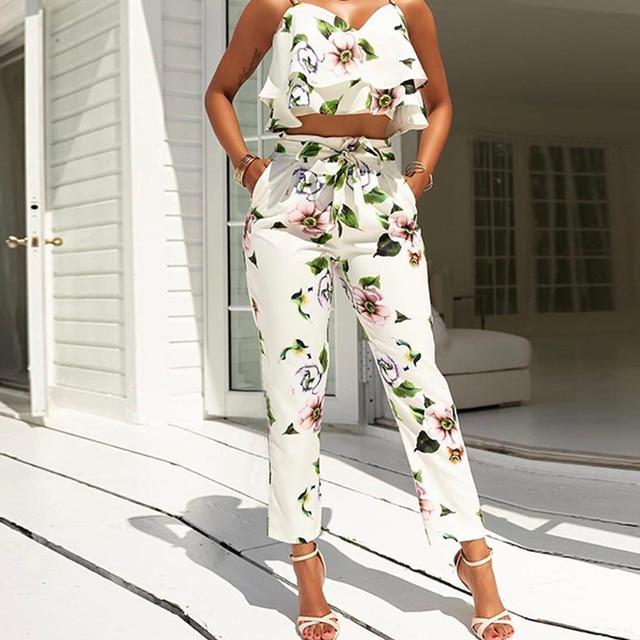 Women Two Piece Outfits 2017 Summer Suit Multicolor Tropical Print Cold Shoulder Crop Top + Long ...