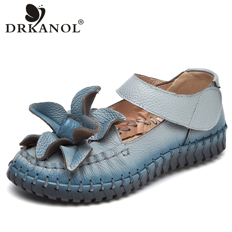 DRKANOL 2018 Spring Summer Genuine Leather Women Flat Shoes Handmade Retro Flowers Women Casual Shoes Soft Pleated Loafers Flats summer women flats shoes casual flat women shoes slips flat women loafers shoes slips leather black flat s women s shoes