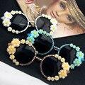 2016 marca de moda óculos de sol barroco toda a mão Margarida acessórios trado jóia Luxo de óculos De sol coloridos óculos de sol Feminino