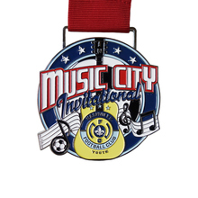 Customized Zinc Alloy Award Soft Awards medals cheap New Music Medal with red ribbons