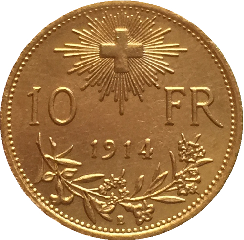 24 - K gold plated 1914 Switzerland 10 Franken coins copy
