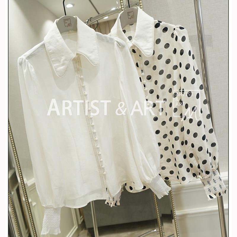 Svoryxiu Spring Summer High End Silk + Ramie Polka Dot Blouse Shirt Women's Tops Runway Brand Blouses Shirts Female