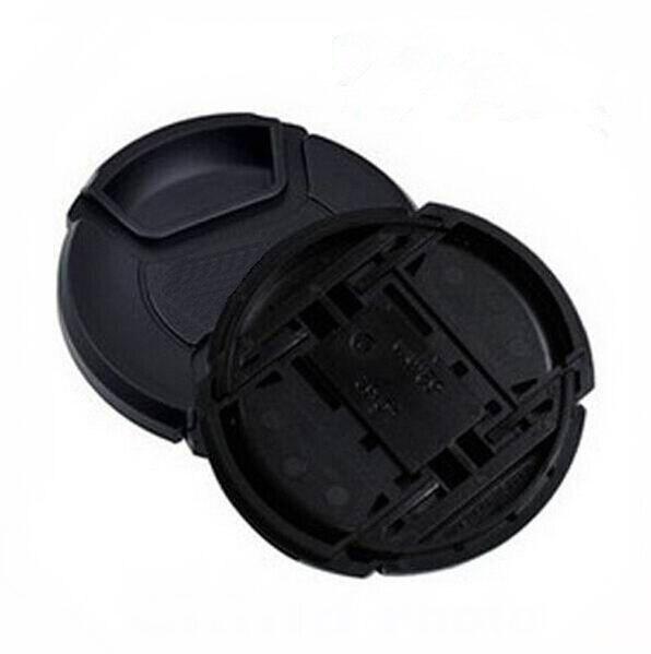 10 unids/lote 49 52 55 58 62 67 72 77 82 86mm Centro pinch Snap on cap cover LOGO para canon nikon lente de cámara