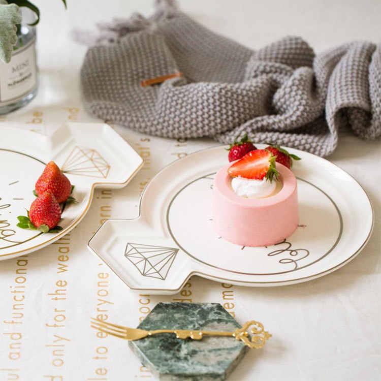Conjunto de talheres em forma de anel, kit de coroa brilhante, anel de diamante, colher de sopro, talheres de porcelana, louças para alimentos, frutas, sobremesa
