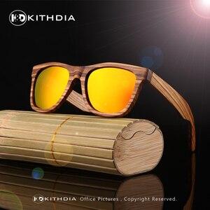 Image 4 - KITHDIA New 100% Real Zebra Wood Sunglasses Polarized Handmade Bamboo Mens Sunglass Sun glasses Men Gafas Oculos De Sol Madera