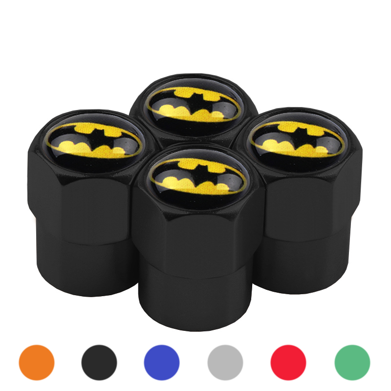 4Pcs/Set Aluminum Car Tire Valve Caps Batman Emblem Logo Car Styling Tyre Stems Air Caps Auto Wheel Car Styling Accessories-in Nuts & Bolts from Automobiles & Motorcycles