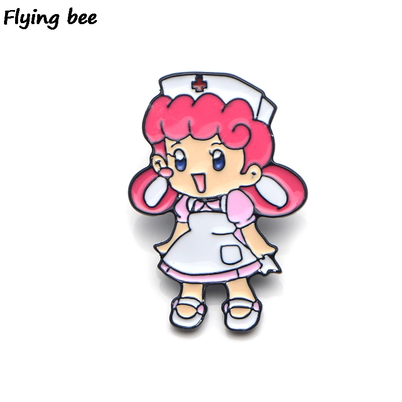 Flyingbee Nurse Joy Enamel Pin Cartoon Brooch Clothes Pins Badges for Denim Blouse Charm Tie Jewelry Accessories X0151