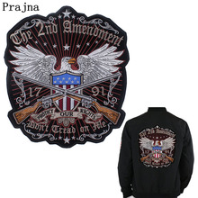 Prajna U.S Leagel Protect The Right Embroidered Iron On Patches Eagle Gun Patch Applique Jacket Punk Biker Motorcycle Patch F