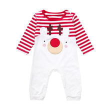 MUQGEW Infant Baby Girl Boy Clothes Rompers Infant Baby Boys Girls Christmas Deer Striped Romper Jumpsuit #5-6(China)