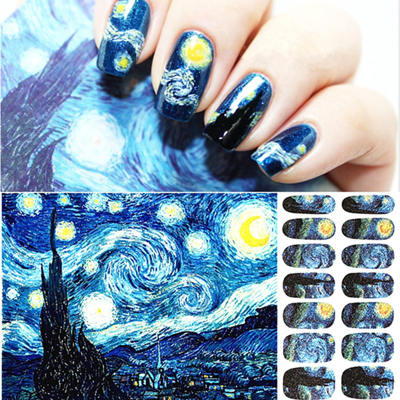 Party Nail Art Stickers Van Gogh Starry Night Designs กาวห่อเล็บ