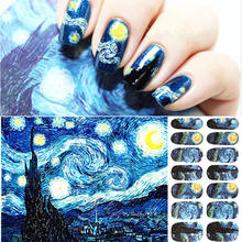 Van Gogh Starry Night Designs Nail Art Stickers Adhesive Wraps Party Accessories 50mm van gogh art paintings refrigerator stickers starry night sunflowers fridge magnet landscape glass crystal cabochon decor