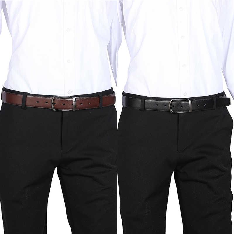 Cintura da uomo in vera pelle 100cm 110cm 120cm 130cm 140cm 150cm 160cm fibbia reversibile cinture da uomo marrone e nero