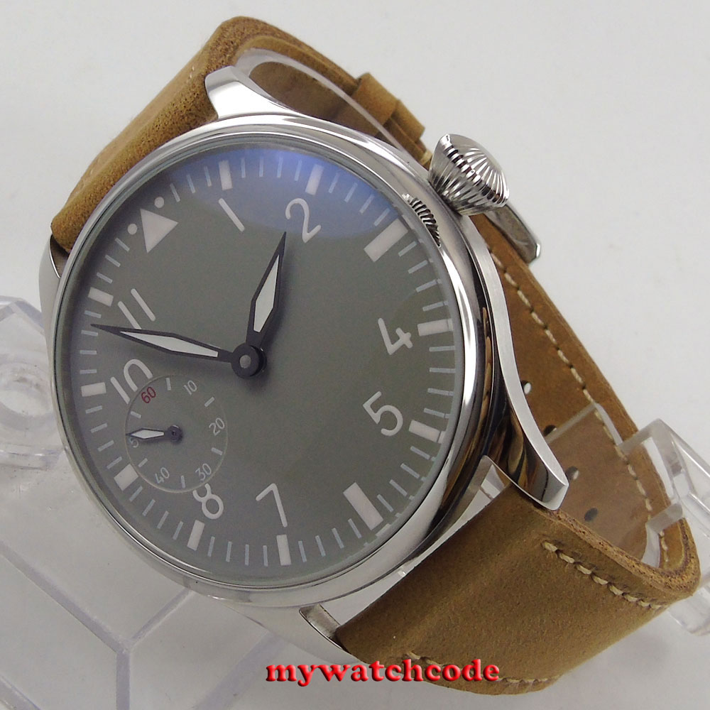 44mm parnis gray dial cow leather aisa 6497 hand winding movement mens watch 458 bornhohe eduard aisa