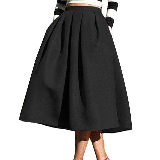 Moda das mulheres do sexo feminino preto sólido ocasional flare bolsos de cintura alta plissada saia de midi do vintage frete grátis