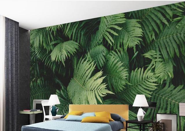 3d Personalizzato Murales Carta Da Parati Per Soggiorno Verde Foglie Delle  Piante Tropicali Sfondi 3d Per
