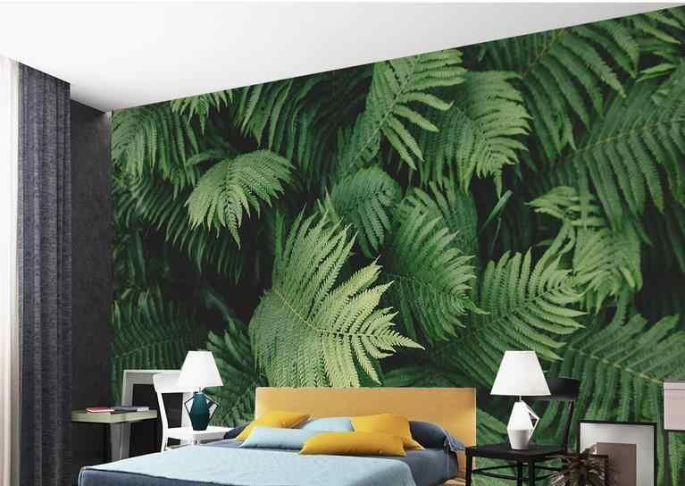 papel decorativo pared Papel Pintado De Pared 3d Personalizado Para Sala De Estar Planta Tropical Verde Hojas Fondos De Pared 3d Para Papel Pintado No Tejido