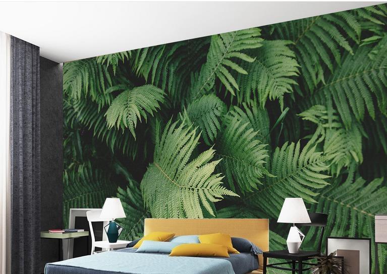 custom 3d wall murals wallpaper for living room Green tropical plant ...