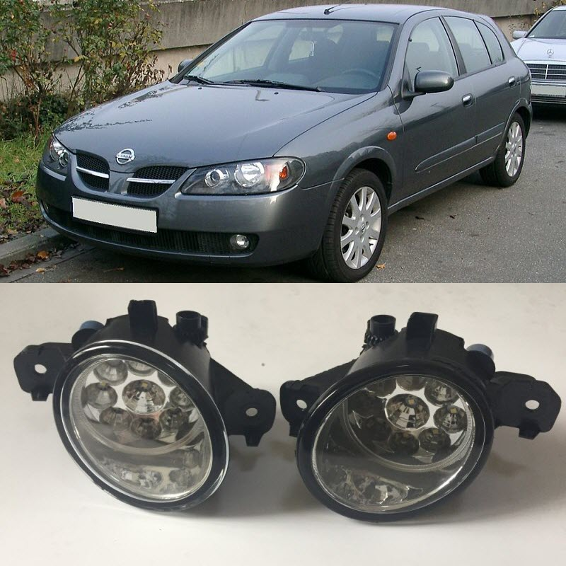 For Nissan Almera 2003 2004 2005 2006 9-Pieces Leds Fog Lights H11 H8 12V 55W Halogen LED Fog Head Lamp Car-Styling for opel astra h gtc 2005 15 h11 wiring harness sockets wire connector switch 2 fog lights drl front bumper 5d lens led lamp