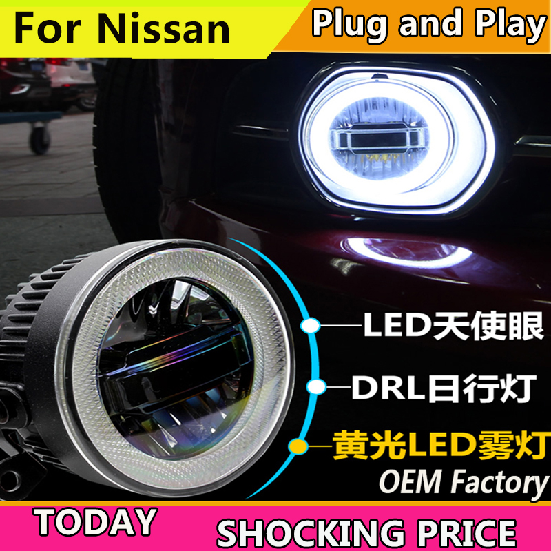 Car Styling for Nissan Tiida X-GFAR NV200 Sylphy X-TRAIL LED Fog Light Auto Angel Eye Fog Lamp LED DRL 3 function model car styling fog lamp for toyota camry corolla highlander mark led fog light angel eye fog lamp led drl 3 function model