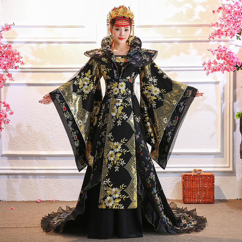 8 Colors Gorgeous Tang Dynasty Princess Empress Tailed Costume Hanfu Stage Performance Hanfu Embroidery Cosplay Costume