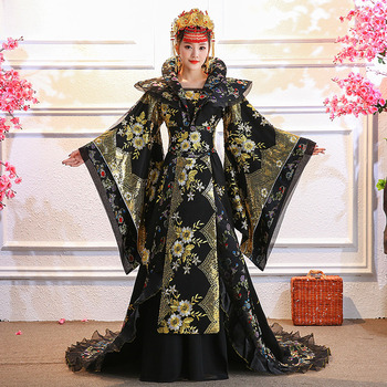8 colors Gorgeous Tang Dynasty Princess Empress Tailed Costume Hanfu Stage Performance Hanfu Embroidery Cosplay Costume you zi yin tang dynasty prince and empress costume parent child costume sets mother son stage clothing
