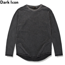 Dark Icon Curved Hem Solid Color High Street T-shirt Men Long Sleeve Urban Fashion Mens Tshirts Basic Extended Tee Shirts